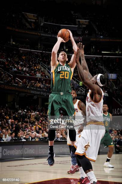 Gordon Hayward of the Utah Jazz shoots the ball against the Cleveland Cavaliers during the game on March 16 2017 at Quicken Loans Arena in Cleveland...
