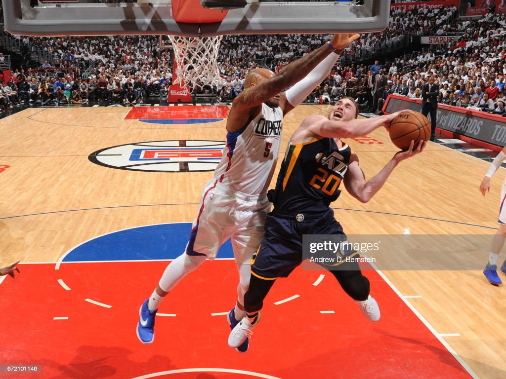 Gordon Hayward #20 of the Utah Jazz shoots the ball against the LA Clippers in Game One of Round One during the 2017 NBA Playoffs on April 15, 2017 at STAPLES Center in Los Angeles, California.