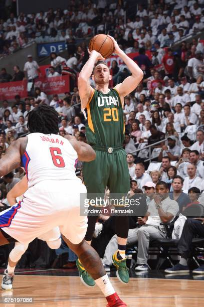 Gordon Hayward of the Utah Jazz shoots the ball against the LA Clippers during Game Seven of the Western Conference Quarterfinals of the 2017 NBA...