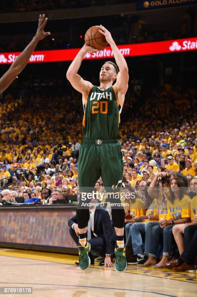 Gordon Hayward of the Utah Jazz shoots the ball against the Golden State Warriors during Game One of the Western Conference Semifinals of the 2017...