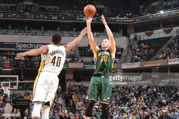 Gordon Hayward of the Utah Jazz shoots the ball against the Indiana Pacers on March 20 2017 at Bankers Life Fieldhouse in Indianapolis Indiana NOTE...