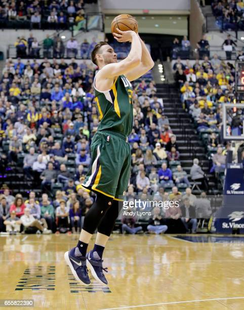 Gordon Hayward of the Utah Jazz shoots the ball against the Indiana Pacers at Bankers Life Fieldhouse on March 20 2017 in Indianapolis Indiana NOTE...