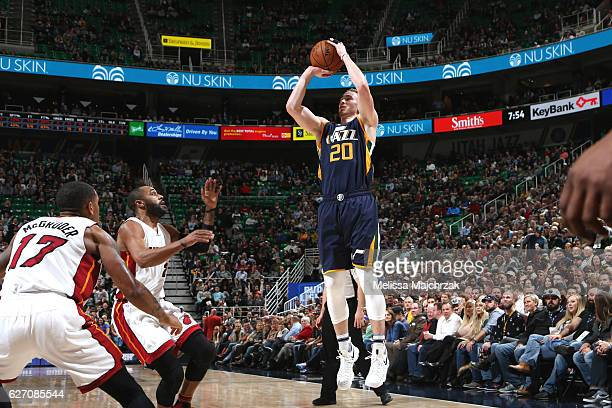 Gordon Hayward of the Utah Jazz shoots the ball against the Miami Heat on December 1 2016 at vivintSmartHome Arena in Salt Lake City Utah NOTE TO...