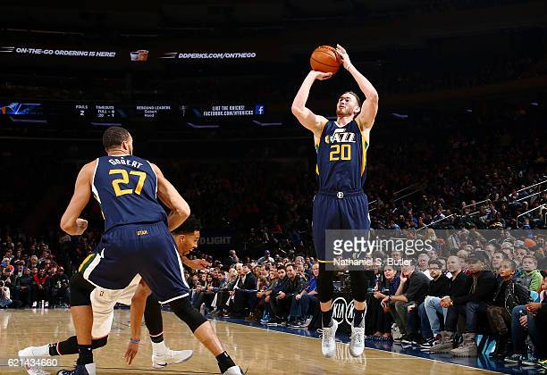 Gordon Hayward of the Utah Jazz shoots the ball against the New York Knicks during the game on November 6 2016 at Madison Square Garden in New York...