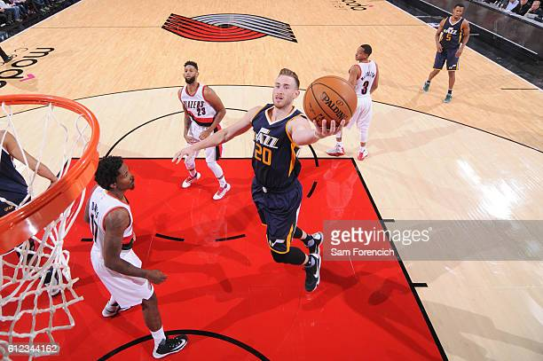 Gordon Hayward of the Utah Jazz shoots the ball against the Portland Trail Blazers during a preseason game on October 3 2016 at the Moda Center in...