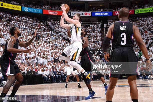 Gordon Hayward of the Utah Jazz shoots the ball during the game against the Los Angeles Clippers during the Western Conference Quarterfinals of the...