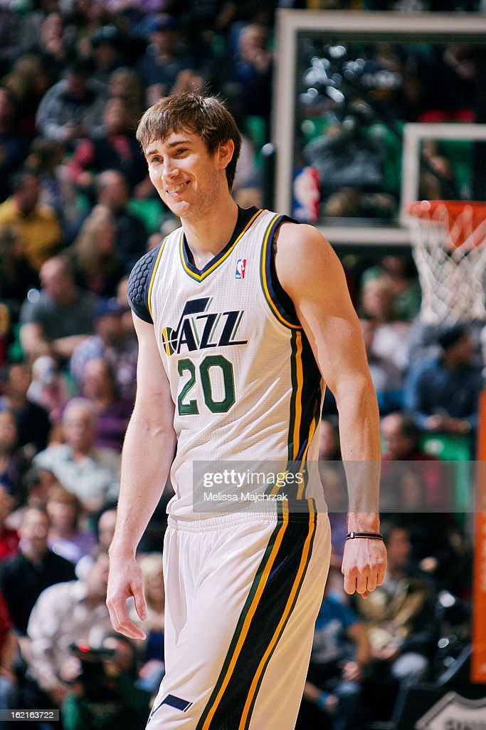Gordon Hayward #20 of the Utah Jazz smiles during a game against the Golden State Warriors at Energy Solutions Arena on February 19, 2013 in Salt Lake City, Utah.