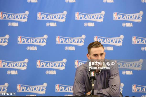 Gordon Hayward of the Utah Jazz speaks to the media after Game Four of the Western Conference Semifinals of the 2017 NBA Playoffs on May 8 2017 at...