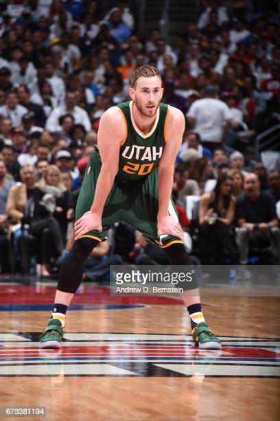 Gordon Hayward of the Utah Jazz stands on the court against the LA Clippers in Game Five of the Western Conference Quarterfinals of the 2017 NBA...