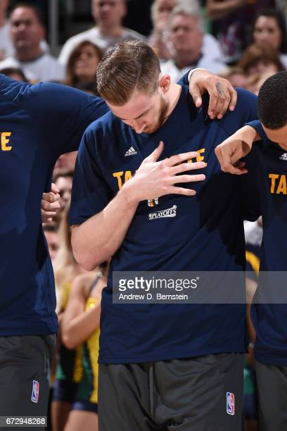 Gordon Hayward of the Utah Jazz stands on the court before Game Four of the Western Conference Quarterfinals against the LA Clippers of the 2017 NBA...