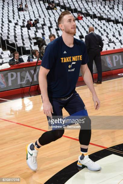 Gordon Hayward of the Utah Jazz stretches before Game Two of the Western Conference Quarterfinals against the LA Clippers during the 2017 NBA...