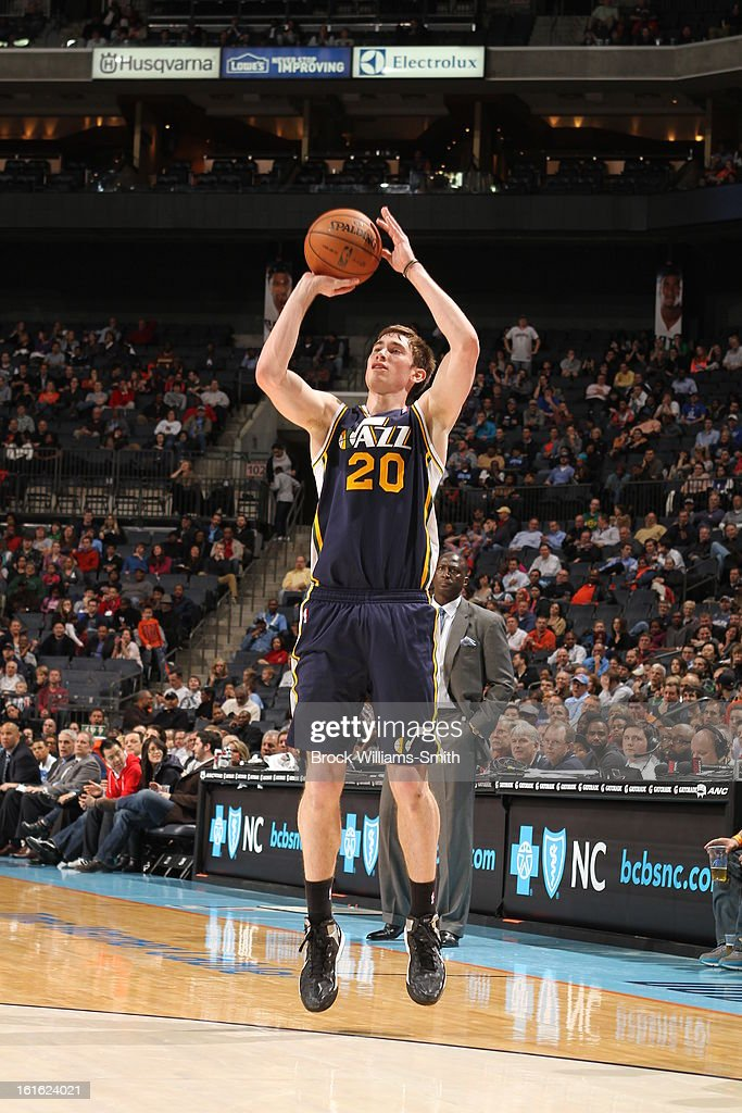 <a gi-track='captionPersonalityLinkClicked' href=/galleries/search?phrase=Gordon+Hayward&family=editorial&specificpeople=5767271 ng-click='$event.stopPropagation()'>Gordon Hayward</a> #20 of the Utah Jazz takes a shot against the Charlotte Bobcats at the Time Warner Cable Arena on January 9, 2013 in Charlotte, North Carolina.