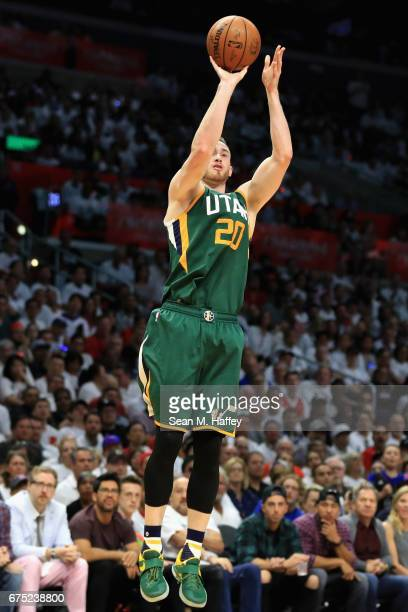 Gordon Hayward of the Utah Jazz takes a shot during the second half of Game Seven of the Western Conference Quarterfinals against the Los Angeles...