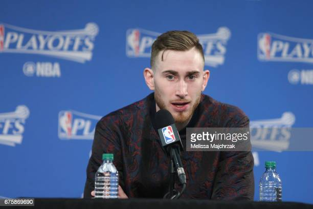 Gordon Hayward of the Utah Jazz talks to the media during a press conference after Game Six of the Western Conference Quarterfinals against the LA...