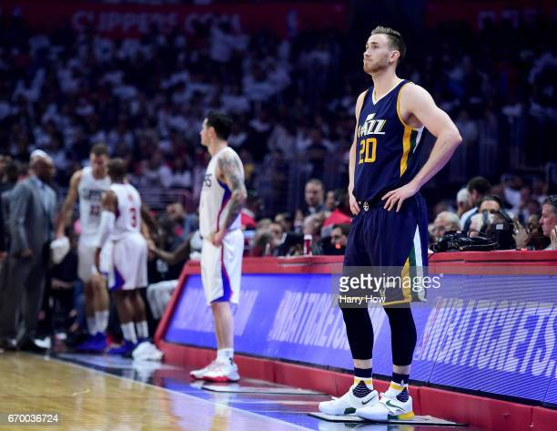 Gordon Hayward of the Utah Jazz waits for play to resume trailing the LA Clippers during the first half in Game Two of the Western Conference...