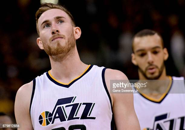 Gordon Hayward of the Utah Jazz walks off the court looking at scoreboard as they lost 10291 to the Golden State Warriors in Game Three of the...