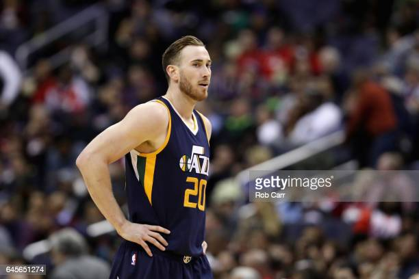 Gordon Hayward of the Utah Jazz walks up the floor against the Washington Wizards in the first half at Verizon Center on February 26 2017 in...