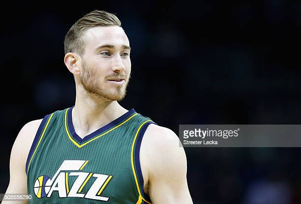 Gordon Hayward of the Utah Jazz watches on during their game against the Charlotte Hornets at Time Warner Cable Arena on January 18 2016 in Charlotte...