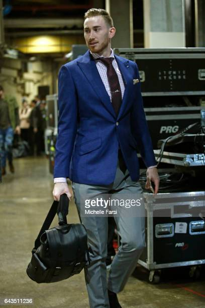 Gordon Hayward of the Western Conference AllStar Team arrives at the arena before the NBA AllStar Game as part of the 2017 NBA All Star Weekend on...