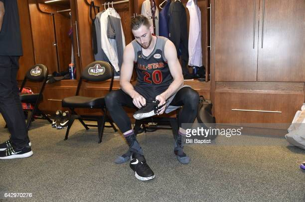 Gordon Hayward of the Western Conference puts on his shoes before the NBA AllStar Game as a part of 2017 AllStar Weekend at the Smoothie King Center...