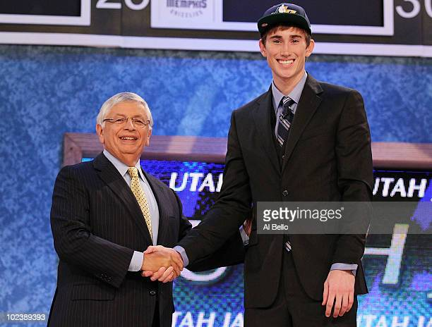 Gordon Hayward stands with NBA Commisioner David Stern after being drafted ninth by The Utah Jazz at Madison Square Garden on June 24 2010 in New...