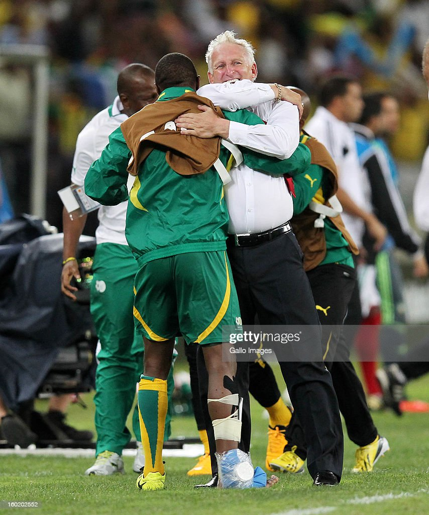AFRICA - JANUARY 27, Gordon Igesund of South Africa celebrates during the 2013 Orange African Cup of Nations match between South Africa and Morocco from Moses Mabhida Stadium on January 27, 2013 in Durban, South Africa.