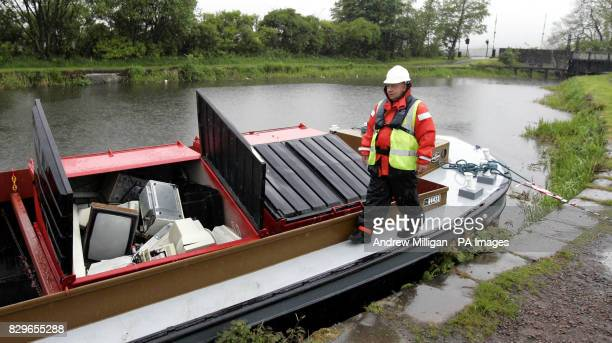 Gordon Leckie from the Water Way Operative with his cargo as a sixweek canal freight trial begins that will see electronic and electrical waste...