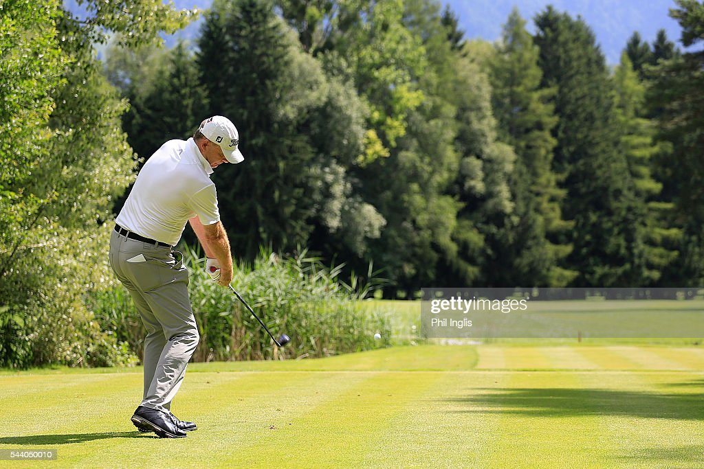 Gordon Manson of Austria in action during the the first round of the Swiss Seniors Open played at Golf Club Bad Ragaz on July 1, 2016 in Bad Ragaz, Switzerland.