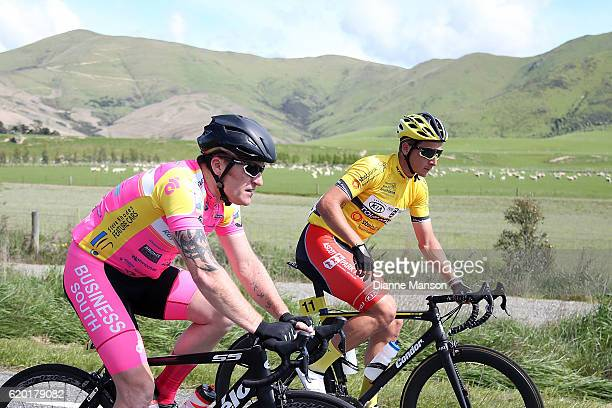 Gordon McCauley of Auckland and Tour Leader Alex Frame of Christchurch make their way to Coronet Peak from Mossburn during stage three of the 2016...