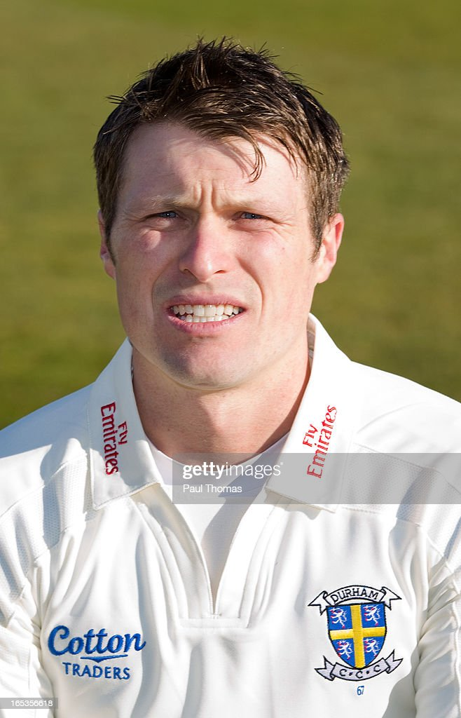 Gordon Muchall of Durham CCC wears the LV= County Championship kit during a pre-season photocall at The Riverside on April 3, 2013 in Chester-le-Street, England.