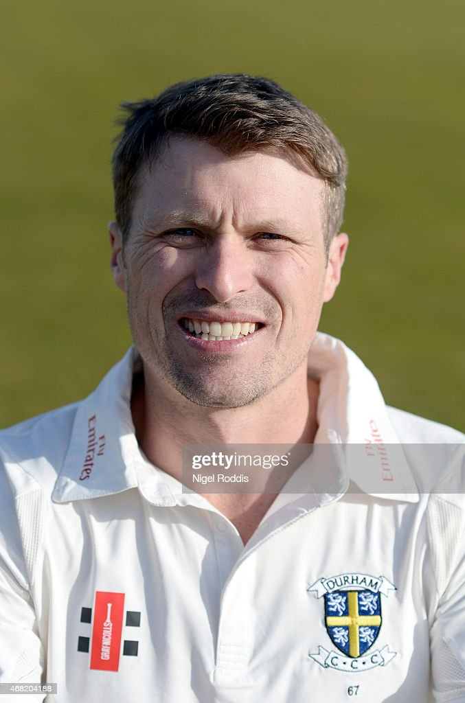 Gordon Muchall of Durham poses for a portrait during the Durham CCC Photocall at The Riverside on March 31 2015 in ChesterleStreet England