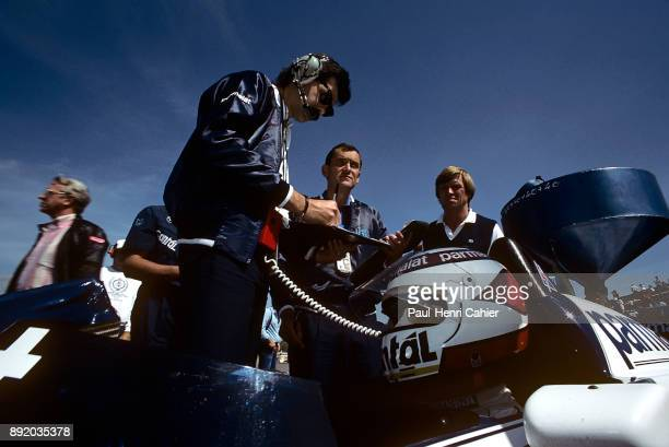Gordon Murray Nelson Piquet BrabhamBMW BT53 Grand Prix of Austria Osterreichring 19 August 1984 Nelson Piquet sitting in his BrabhamBMW BT53 with...