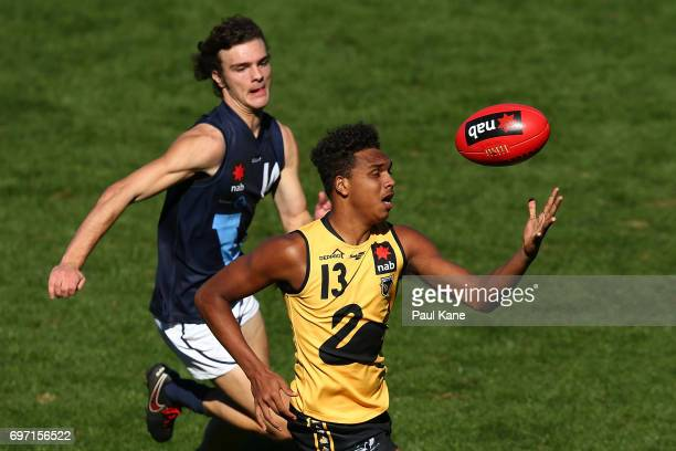 Gordon Narrier of Western Australia gathers the ball during the U18 Championships match between Western Australia and Victoria Metro at Domain...