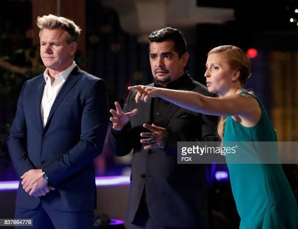 Gordon Ramsay Aaron Sanchez and Christina Tosi in the allnew Vegas Deluxe Oyster Shucks episode of MASTERCHEF airing Wednesday Aug 16 on FOX