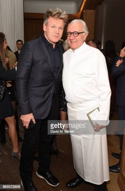 Gordon Ramsay and Alain Ducasse attend 10th anniversary of Alain Ducasse at The Dorchester on October 23 2017 in London England