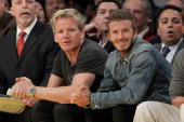 Gordon Ramsay and David Beckham attend a game between the Portland Trail Blazers and the Los Angeles Lakers at Staples Center on April 11 2010 in Los...