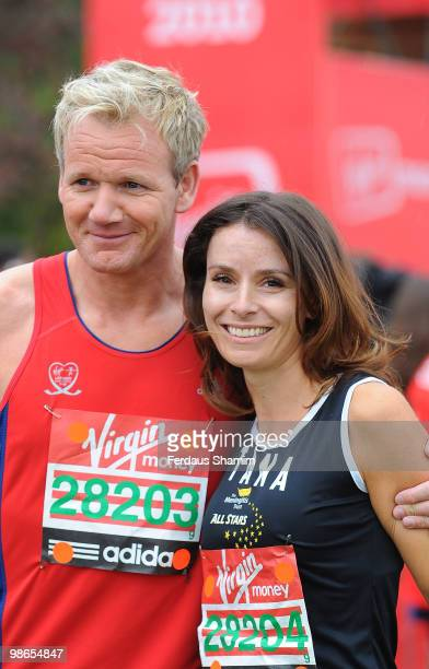Gordon Ramsay and Tana Ramsay take part in the Virgin London Marathon on April 25 2010 in London England
