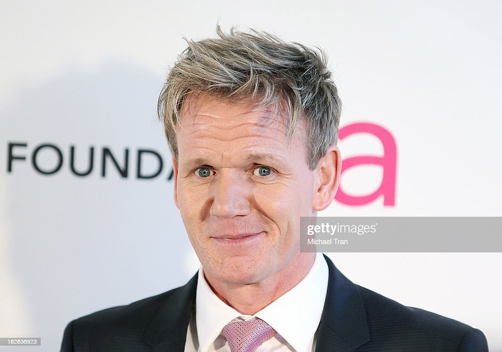 Gordon Ramsay arrives at the 21st Annual Elton John AIDS Foundation Academy Awards viewing party held at West Hollywood Park on February 24, 2013 in West Hollywood, California.