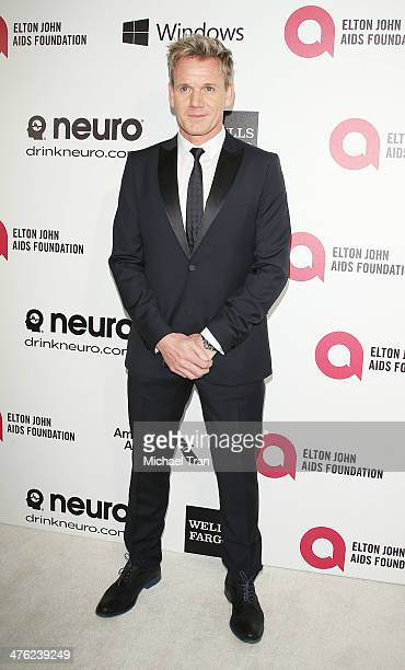 Gordon Ramsay arrives at the 22nd Annual Elton John AIDS Foundation's Oscar viewing party held on March 2 2014 in West Hollywood California
