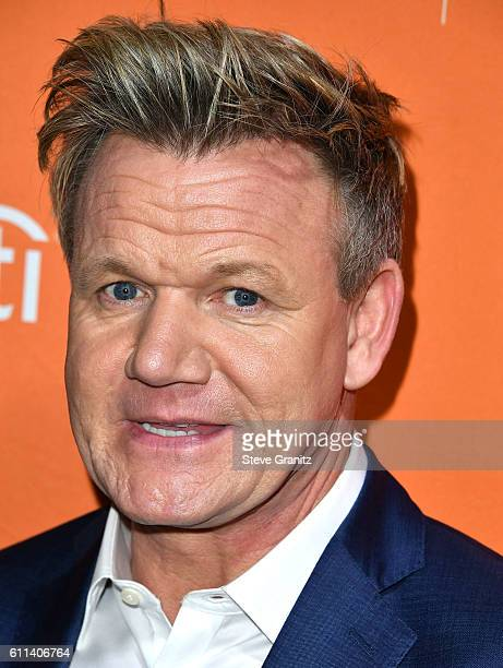 Gordon Ramsay arrives at the Los Angeles' No Kid Hungry Dinner on September 28 2016 in Los Angeles California