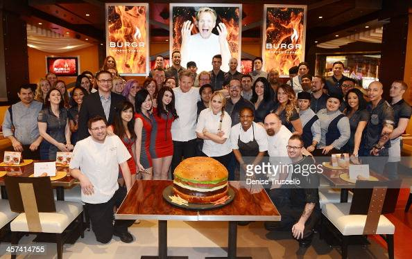 Gordon Ramsay celebrates the one year anniversary of Gordon Ramsay BurGR at Planet Hollywood Casino Resort on December 17 2013 in Las Vegas Nevada