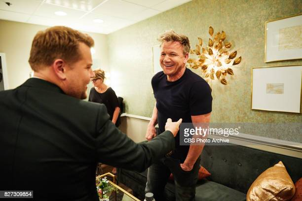 Gordon Ramsay chats in the green room with James Corden during 'The Late Late Show with James Corden' Tuesday August 1 2017 On The CBS Television...