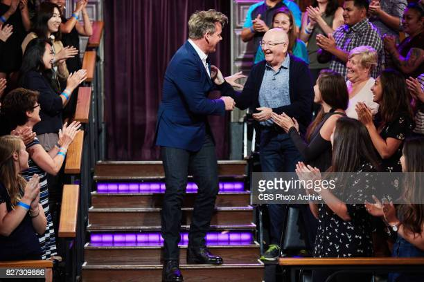 Gordon Ramsay greets Malcolm and Margaret Corden during 'The Late Late Show with James Corden' Tuesday August 1 2017 On The CBS Television Network