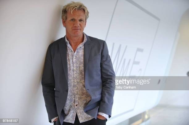 Gordon Ramsay pose's for a picture at the Launch of his 'One Potato Two Potato Inc' production company on March 18 2010 in Beverly Hills California