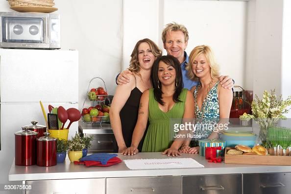 Gordon Ramsay with Hell's Kitchen contestants Jen Yemola Julia Williams and Bonnie Muirhead