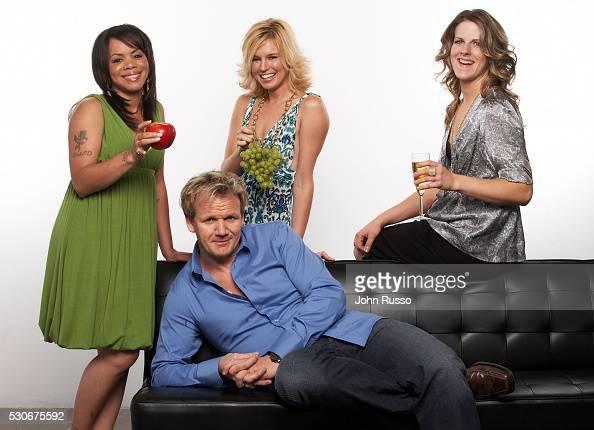 Gordon Ramsay with Hell's Kitchen contestants Julia Williams Bonnie Muirhead and Jen Yemola