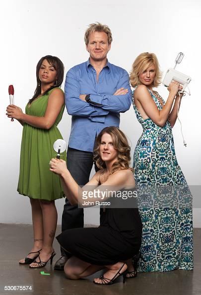 Gordon Ramsay with Hell's Kitchen contestants Julia Williams Jen Yemola and Bonnie Muirhead