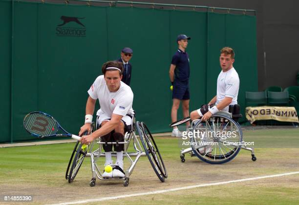 Gordon Reid and Alfie Hewett in action during their Gentlemen's Wheelchair Doubles Final on Court 3 against Stephane Houdet and Nicolas Peifer of...