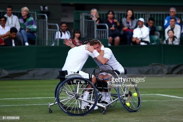 Gordon Reid and Alfie Hewett of Great Britain celebrate winning their men's doubles wheel chair semi final match against Gustavo Fernandez of...