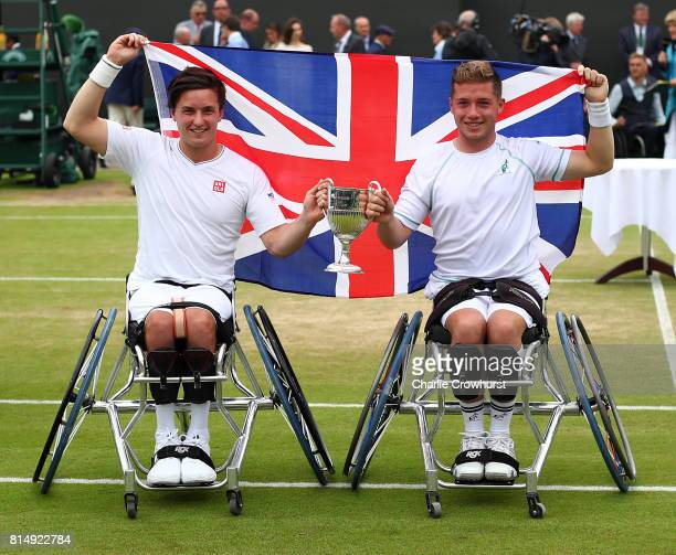 Gordon Reid and Alfie Hewett of Great Britain celebrate winning their men's doubles wheel chair tennis final against Stephane Houdet and Nicolas...